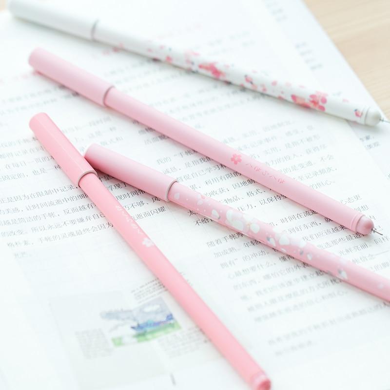 2pcs/pack Pink Cherry Sakura Gel Pen Plastic 0.5mm Black Ink Refill Pen Portable Pen Japanese Cute Writing Pens School Supplies