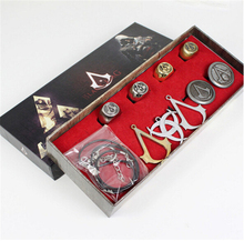 Animation Assassins Creed Necklace brooch Rings Box Set Model Action Figures Toys model Collections