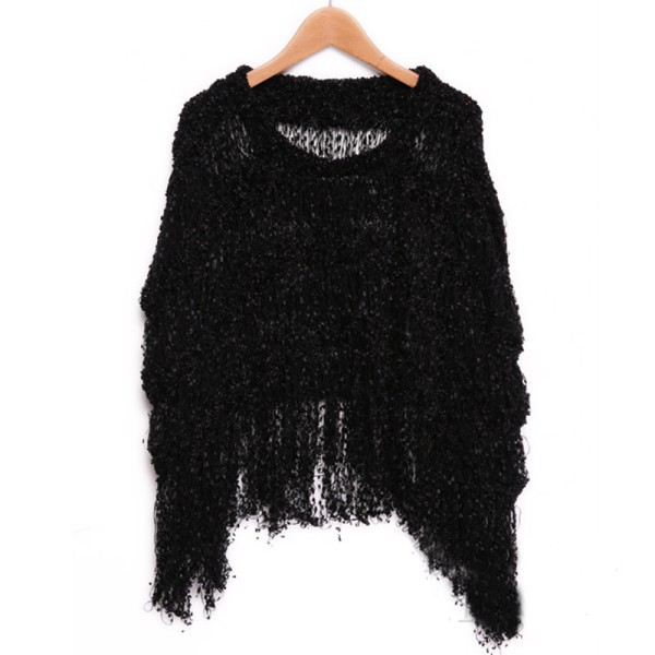 Womens Knitwear Tops Tassels Batwing Sleeve Sweater Jumper Poncho Cape New Sale