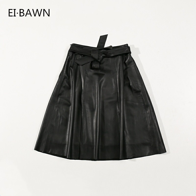 2019 Autumn New Haining Leather A Word Skirt, Female Sheepskin Skirt Is Thin, Half Skirt, Big Size Leather Skirt.