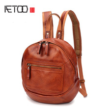 AETOO New hand-washed old first layer cowhide female shoulder bag retro casual backpack literary bag female aetoo literary retro genuine leather backpack female large capacity soft leather hand stitched first layer cowhide backpack