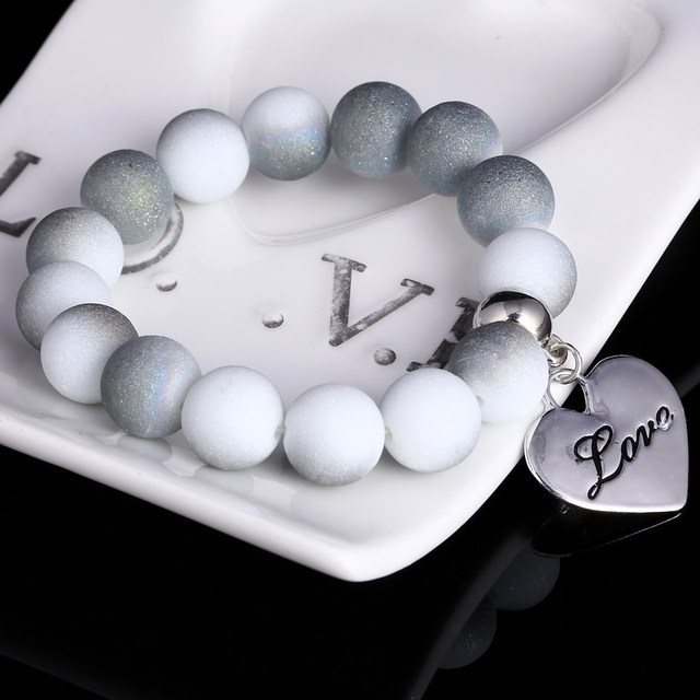 2018 Colorful Beads Charms Bracelets For Women and Men Jewelry Heart Pendant Bracelets & Bangles Pulseras Wholesale Price Gifts