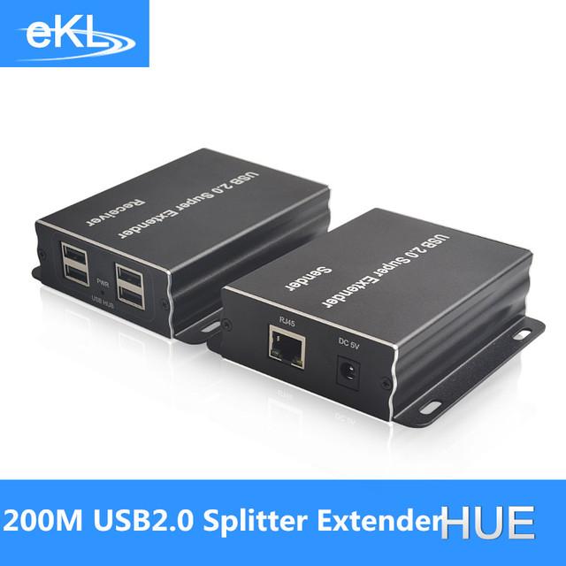 200 m USB 2.0 divisor EKL extensor con solo CAT5E/6 cable, apoyar la función HUB usb