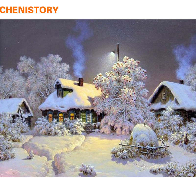 CHENISTORY Frameless Snow House DIY Painting By Numbers Lands