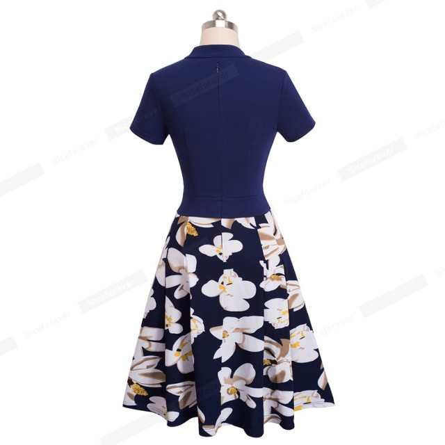 Nice-forever Vintage Stylish Print Floral Patchwork V-Neck Women Casual Office Dress Short Sleeve A-Line Swing Summer Dress A036