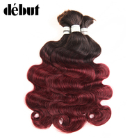 Debut No Weft Remy Brazilian Body Wave Bulk Human Hair For Braiding Ombre 1b 99J Human hair Crochet Weave 3 Bundles Deal