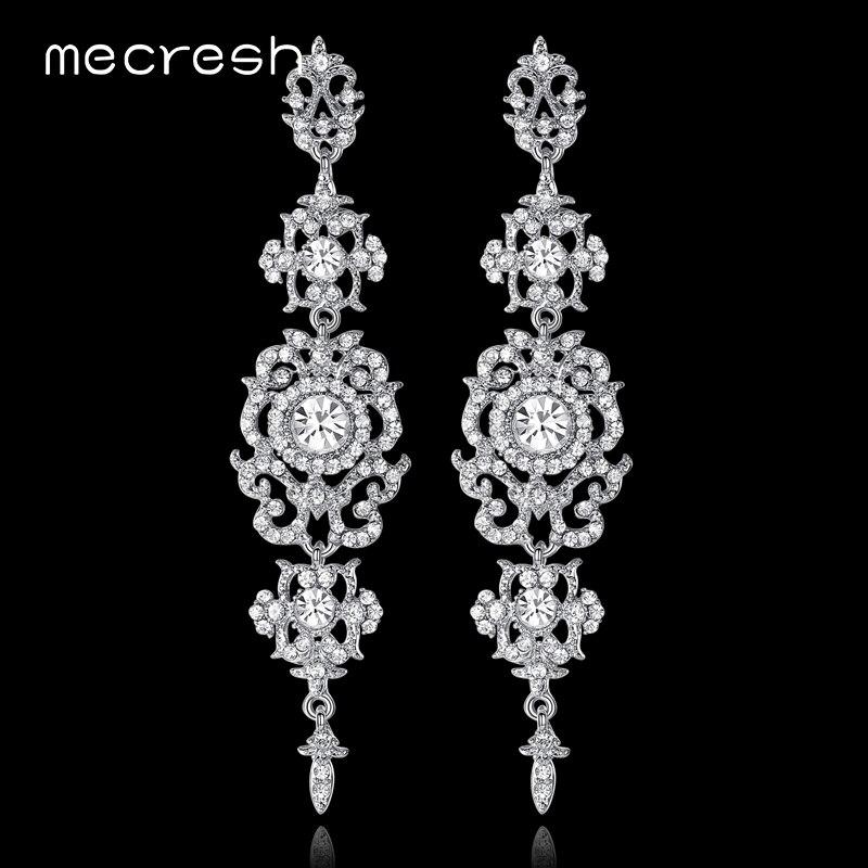Mecresh Silver/Gold Color Crystal Bridal Long Earrings for Women Sun Floral Shape Praty Hanging Earrings Wedding Jewelry EH182 silver long chain hanging earrings moon star shape