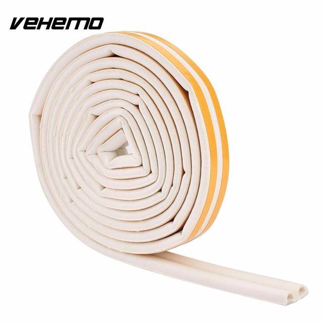 VEHEMO 1pc 5m Self Adhesive D Type Car Doors Windows Foam Seal Strip Soundproofing Collision Avoidance Rubber Seal Collision