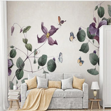 Factory directNordic pastoral style nostalgic hand-painted plant flowers background wall paper murals can be customized