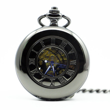 Mechanical Hand Wind Pocket Watch Steampunk Roman Numbers Steel Fob Watches PJX1284