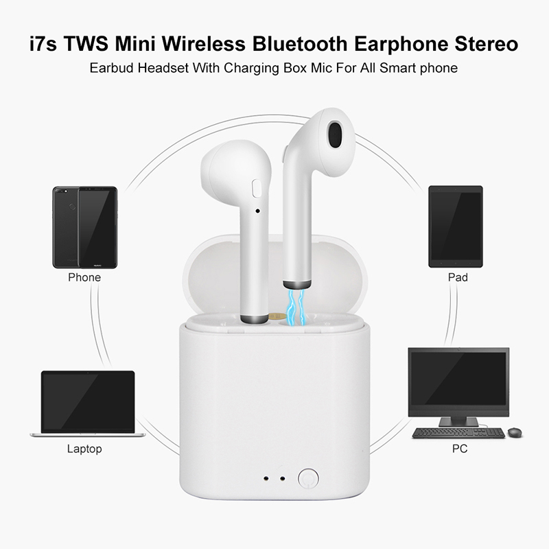 Image 3 - i7s TWS Mini Wireless Earphones HiFi Stereo Headset Bluetooth 5.0 Earbuds With Mic Charging Box For Phone PC Laptop-in Bluetooth Earphones & Headphones from Consumer Electronics