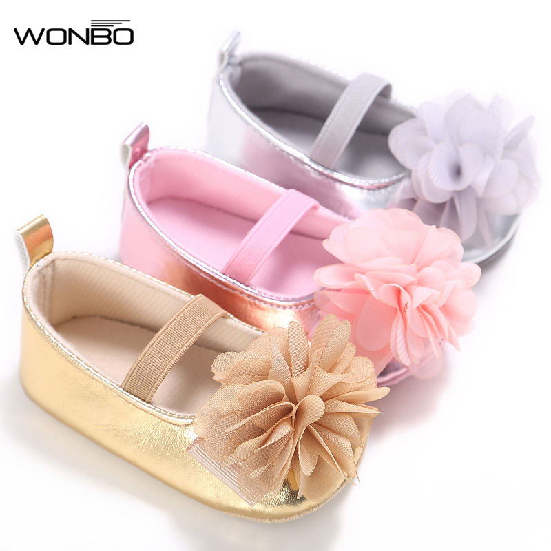 New PU Leather Golden Silver Pink Newborn Baby Kid Prewalkers Shoes Princess Girl Mary Jane Big Flower Soft Soled Anti-slip Shoe