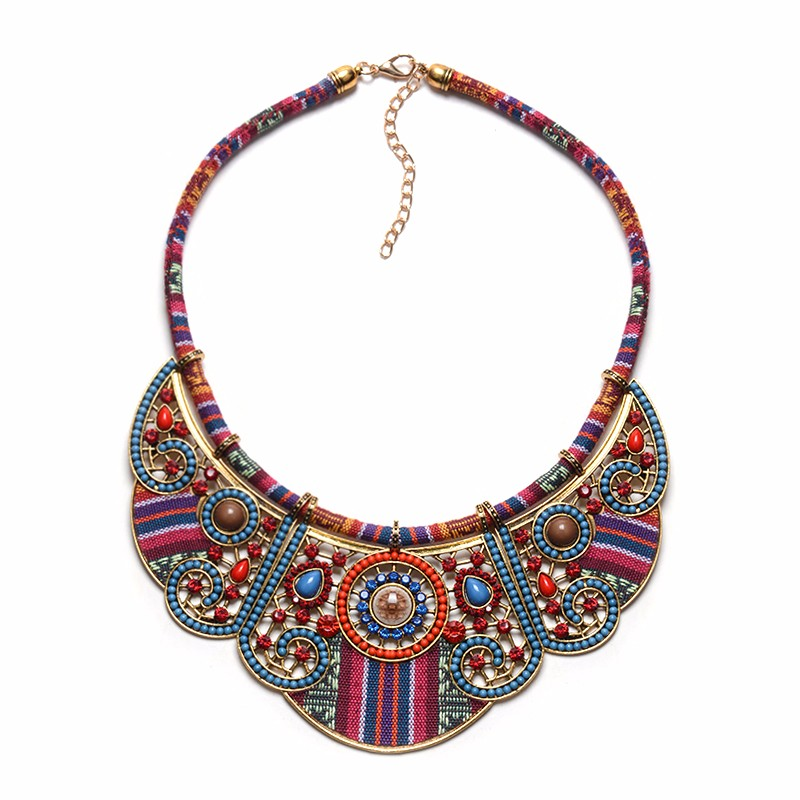 Bohemian Design Multilayer Woven Rope Chain Necklace Colorful Ethnic Handmad Necklace Clothes Accessories Women Maxi Colar