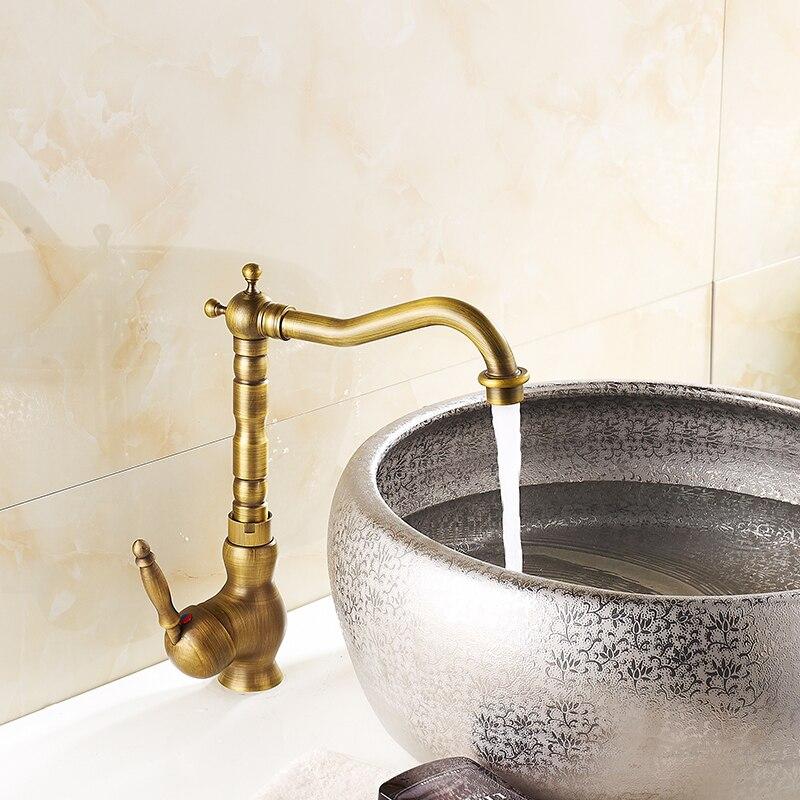 Livraison gratuite mode Antique pivotant mélangeur robinets en laiton bassin évier mitigeur robinet robinet d'eau, banheiro torneira TP-1098