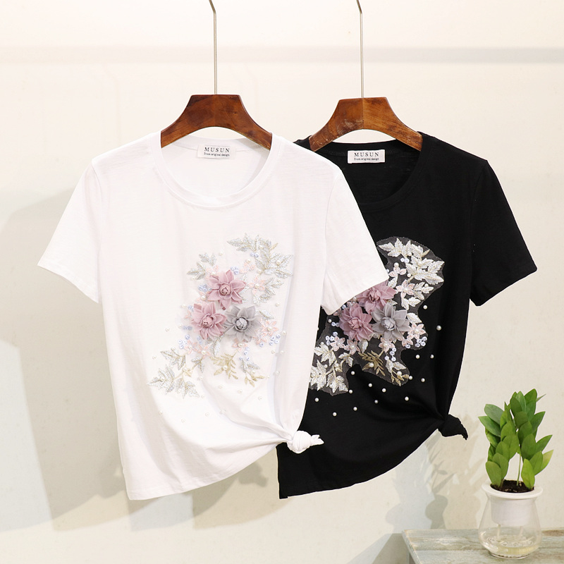 2019 Summer New Women Tshirt Tops Fashion Beading Embroidery Flower O-Neck Short sleeve Tees Top Wild Casual Women T shirt Tide
