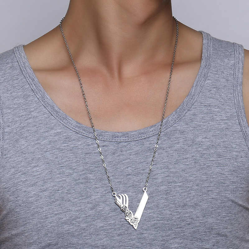 Meaeguet Nodic Viking ikona Chokers naszyjniki V kształt Ragnar Lodbrok wisiorek biżuteria ze stali nierdzewnej dla mężczyzn