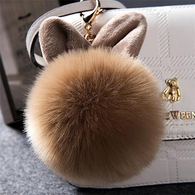 2017 Fur Pom Pom Keychain Fake Rabbit fur ball key chain porte clef pompom de fourrure pompon Bag Charms bunny keychain Keyring 36