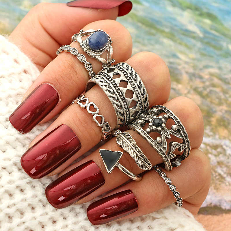 Retro New Women Nhẫn Antique Bạc Màu Punk Midi Finger Nhẫn