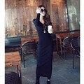 2016 Korean Designer Casual Style Female Dresses Plain High Street Fashionable Long Sleeve Round Neck Dress