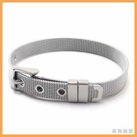 Free Shipping Fashion Jewelry Stainless Titanium Steel Leather Silver Watchband Watch Strap Mens Cuff Friendship Bracelets