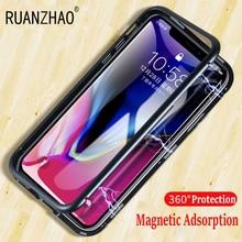 360 Full Magnetic Cases For iPhone 6s plus 7 8 plus X Aluminum Metal Bumper Cover For iPhone X 8 7 6 Plus Tempered Glass Case 7