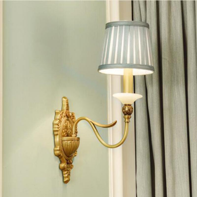 European Classical Copper Fabric Led E14 Wall Lamp For Bathroom ...