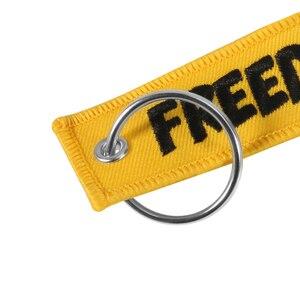 Image 3 - Motocykl brelok do kluczyków samochodowych wolność brelok do klucza haft żółty breloczek brelok OEM brelok na prezenty w lotniczym stylu biżuteria llavero
