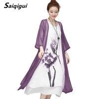 Saiqigui 2017 Summer Dress Women Dress Casual Loose Tow Piece Cotton Line Dress Solid O Neck