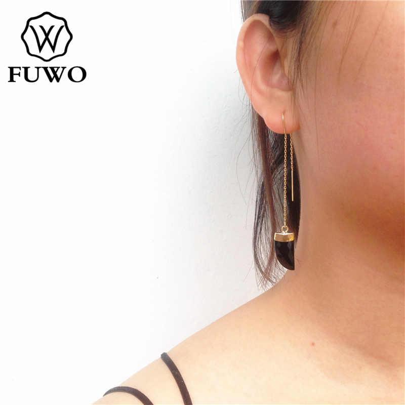 FUWO ナチュラルブラックオニキス細長いと 24 k ゴールド充填ファッションジュエリー宝石石ホーンため縫う女性 ER012