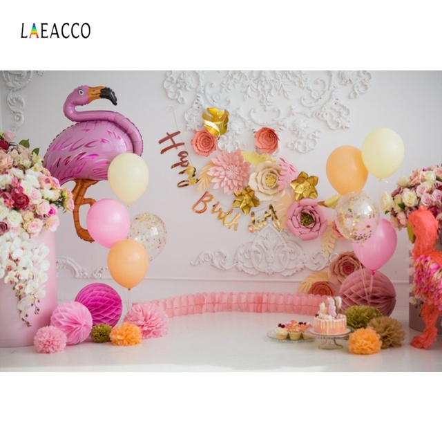 Flamingo Birthday Backdrops For Photography Pink Balloon Flower Cake Dessert Wall Baby Portrait Photo Backgrounds Photo Studio