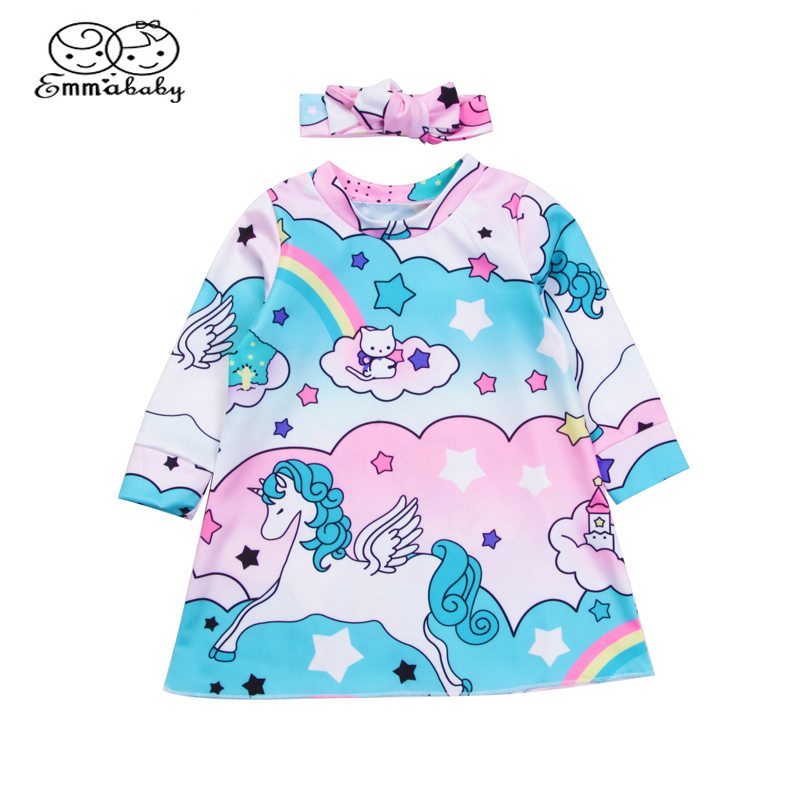 Emmababy Infant Baby Girl Kid Unicorn Mini Dress Toddler Casual Long Sleeve Dresses +Headband 2pcs Outfit Clothes