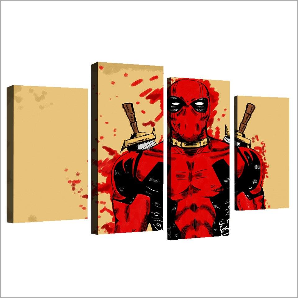 4 Pcs/Set Framed HD Printed Deadpool Movie Comic Picture Wall Print ...