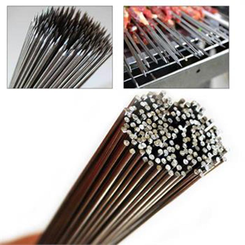 JX-LCLYL 50pcs Stainless Steel Barbecue Sticks Skewer BBQ Meat Kebab Kabob Needle 35cm