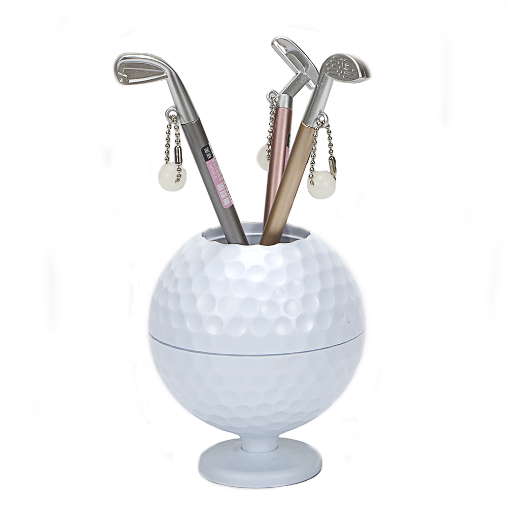 Golf Gift Mini Golf ball Pen Holder Creative Pen Container with Three Golf Club Shape Ballpoints free shipping