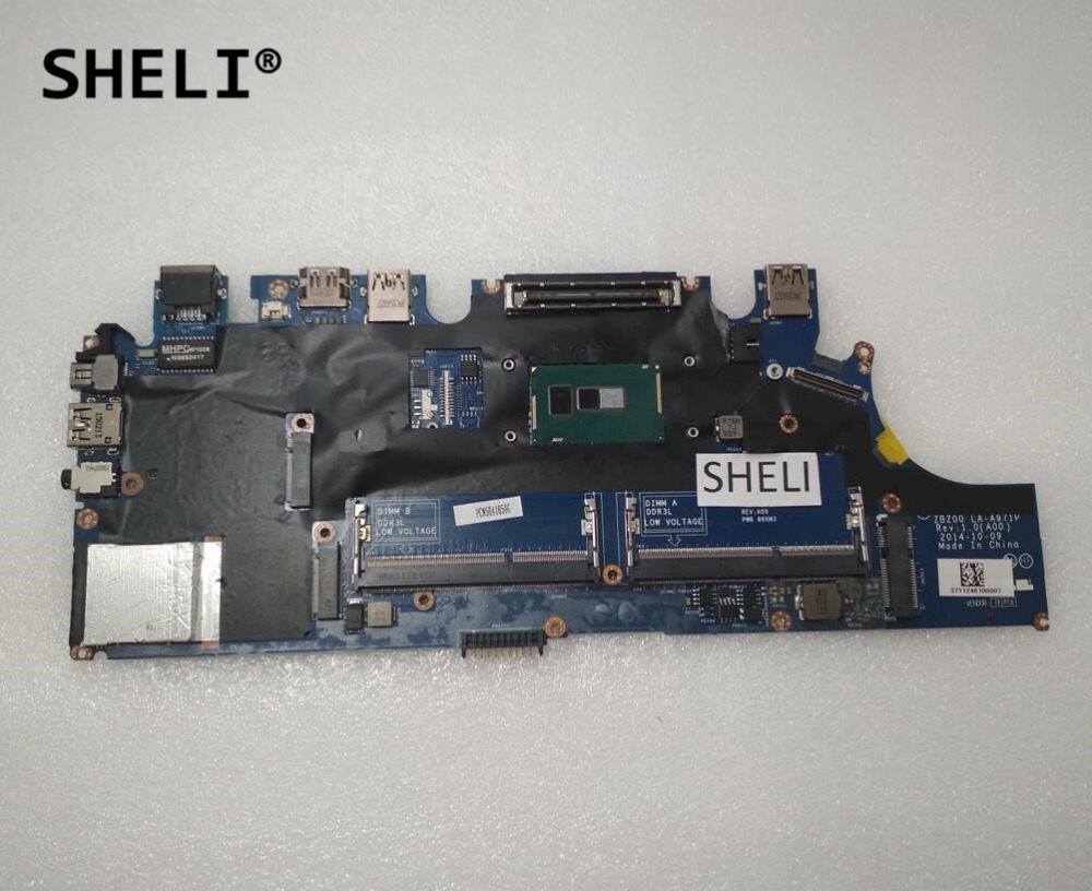 SHELI CN-0NK44R 0NK44R NK44R For Dell E7250 Motherboard with I5-5200U CPU LA-A971P