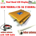 LCD Display 3G W-CDMA 2100MHz + GSM 900Mhz Dual Band Mobile Phone Signal Booster 900 2100 Cell Signal Repeater Full set