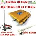 Pantalla LCD 3G W-CDMA 2100 MHz + GSM 900 Mhz de Doble Banda Señal Del Teléfono móvil Repetidor de Señal de Refuerzo 900 2100 Celular Completo conjunto