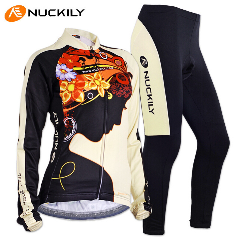 ФОТО Free Shipping NUCKILY Women Cycling Set Long Jersey + 3D Cushion Padded Bike Breathable UV-Proof Bicycle Clothing Ciclismo