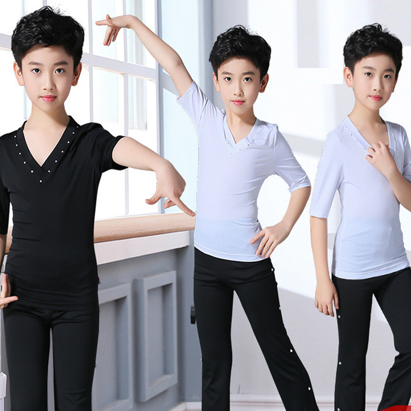 Boys Latin Dance Top Pants Suit Latin Dancing Shirts Competition Performance Wear Children Salsa Practice Clothing 2pcs DQS1745