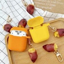 新しいかわいいサツマイモ装飾apple airpodsケースアクセサリー保護カバーbluetoothイヤホンキーリング