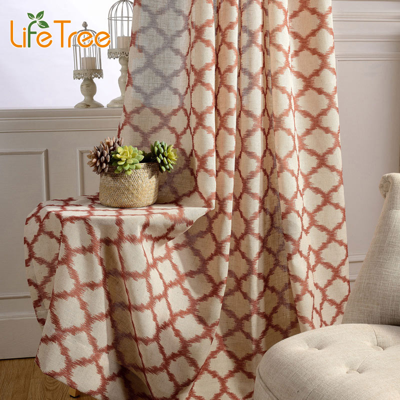 Color Rhombus Printed Linen font b Curtains b font For Living Room Modern Drapes In Bedroom