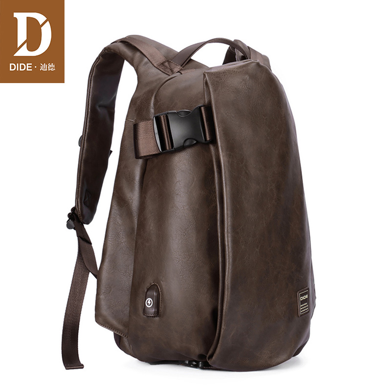 DIDE Large Capacity Backpack Travel USB Charge Waterproof Laptop Backpack PU Leather Fashion Casual School Bag