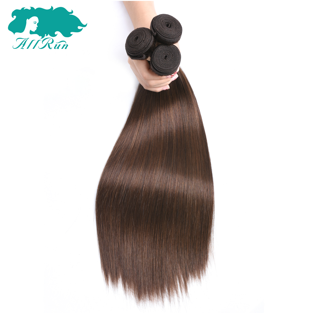 Allrun Pre-Colored Peruvian Straight Hair 3pcs/lot None Remy Straight Hair Bundles 4# Light Brown 100% Human Hair Weave