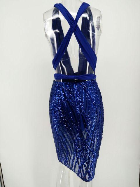 Blue sequin backless multiway dress