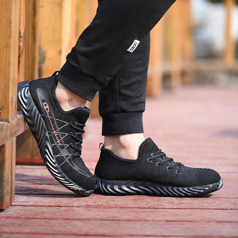 ROXDIA marka çelik toecap erkekler kadınlar iş çizmeleri artı boyutu 35-46 yaz rahat hafif güvenlik erkek kadın ayakkabısı RXM122