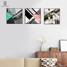 Modern Geometric HD Pattern Unframed Decorative Canvas Paintings Shapes Various Colored Triangles Mixed Images For Foyer Decor sunset horses pattern unframed decorative canvas paintings