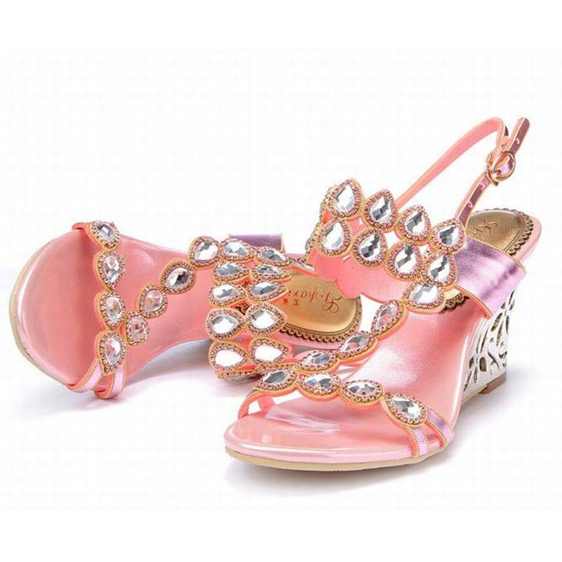 ФОТО 2016 new fashion gladiator wedges high heels sandals bling bling rhinestone buckle women shoes summer  slippers big size 34-44