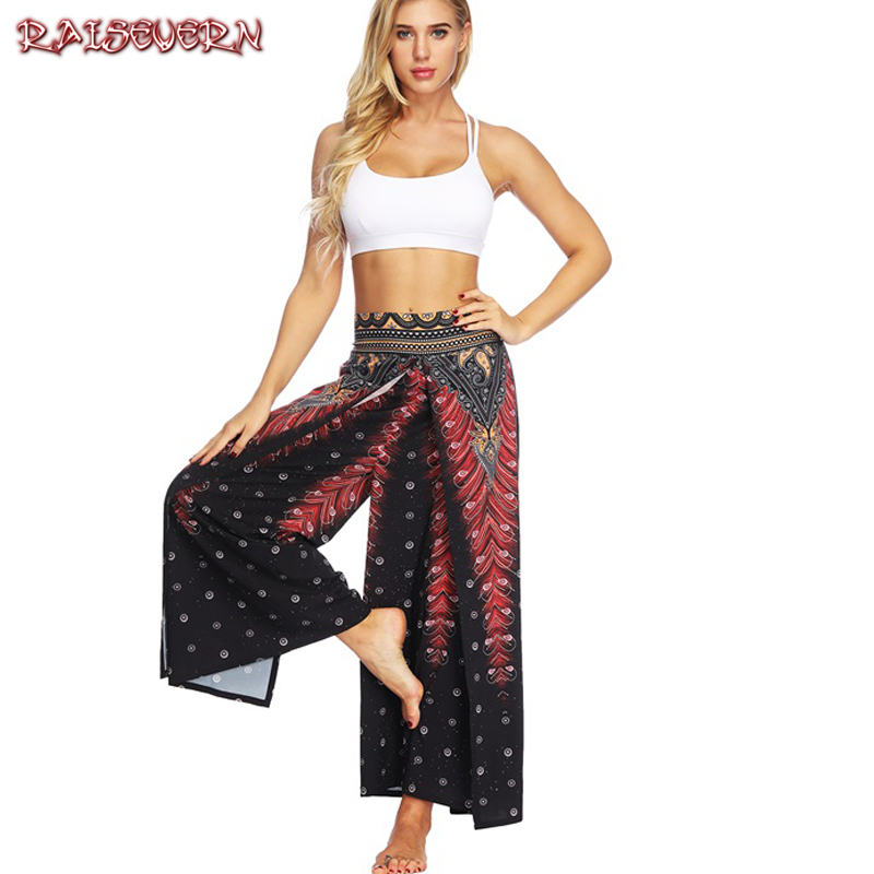 RAISEVERN Casual Vintage Boho   Pant   Sexy Split Women   Wide     Leg     Pants   Summer Plus Size Elastic Waist High Split Loose Long Trousers