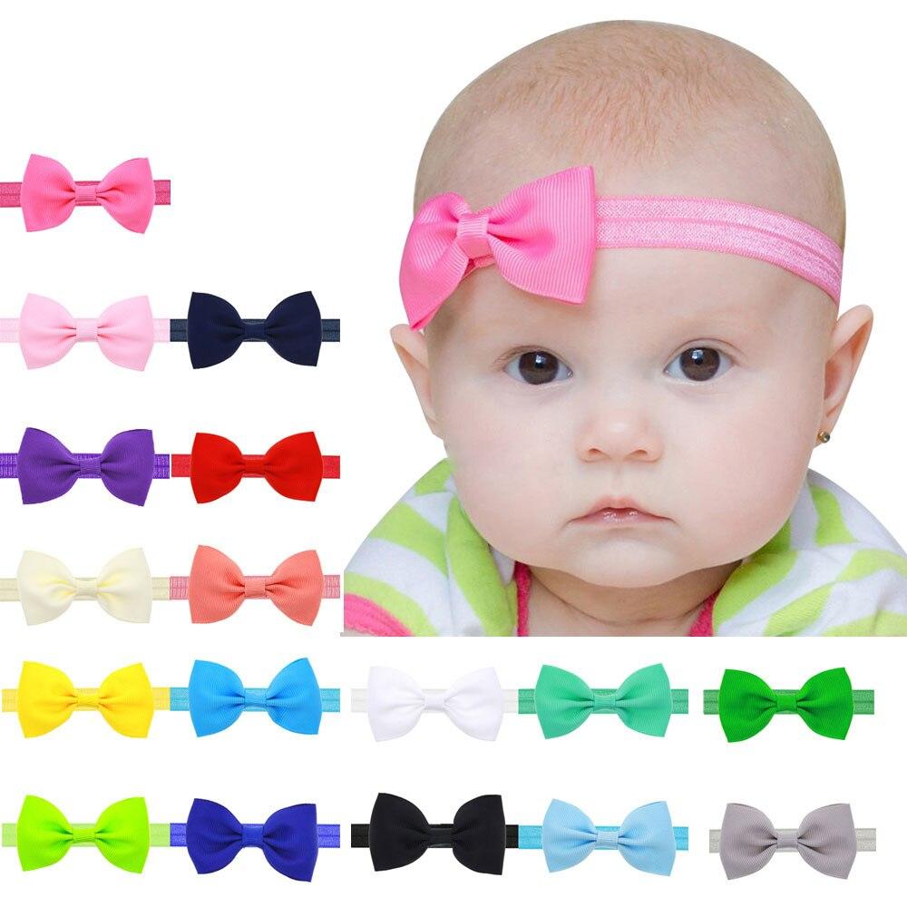 Оптовая и Прямая поставка 17 цветной головной убор одноцветное карамельный цвет для маленьких детей обувь девочек Мини бантом повязка на голову эластич