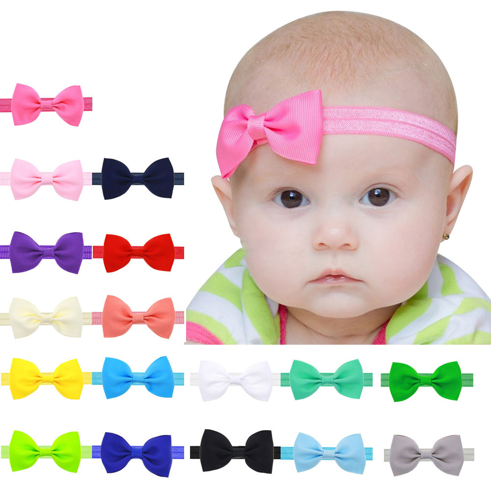 Wholesale&Dropship 17 Colors Headband Solid Candy Color Baby Kids Girls Mini Bowknot Hairband Elastic Headband Hair Accessories 15pcs lot stretch elastic tutu headbands diy headband hair accessories 1 5 inch crochet headband free shipping 33colors in stock